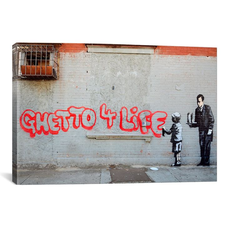 iCanvasART BNK17 Ghetto 4 Life by Banksy Canvas Print, 60-Inch by 40-Inch, 1.5-Inch Deep