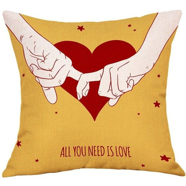 Yellow W18 INCH L18 INCH Lovers Heart Print Valentine's Day Linen... ($4.25) ❤ liked on Polyvore featuring home, bed & bath, bedding, bed sheets, yellow pillowcases, linen pillow cases, yellow pillow cases, linen bedding and yellow bed linen