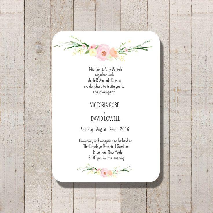Wedding Invitation Simple Watercolor Floral Printable Wedding