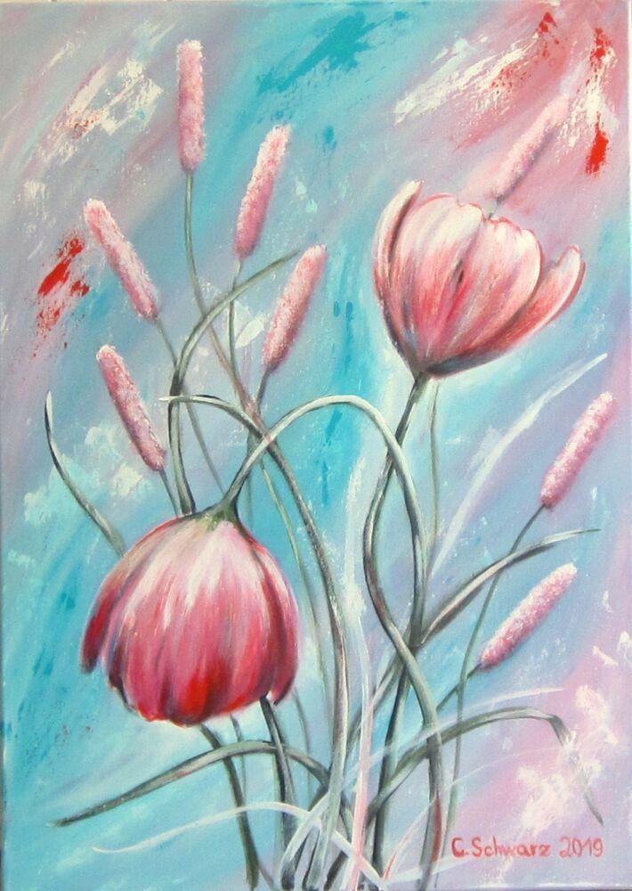 Swinging Meadow Flowers 50x70cm Kunst Mohnblumen Gemalt Bild Abstrakt Bluten Wiesenblumen Malerei Blumen Aquarell