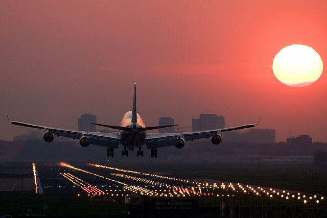 the biggest #airplane Boeing 747-400 Sunrise at Amsterdam Schiphol