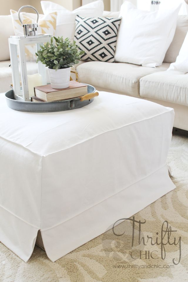 DIY Low Budget High End Styled- Year Round Chic Ottoman Slipcover !