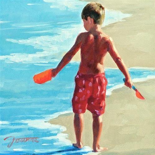 """Treasure Hunt--Series Painting of Children On the Beach"" - Original Fine Art for Sale - © Joanna Bingham"