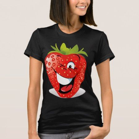 Happy Winking Strawberry Face T-Shirt - tap, personalize, buy right now!
