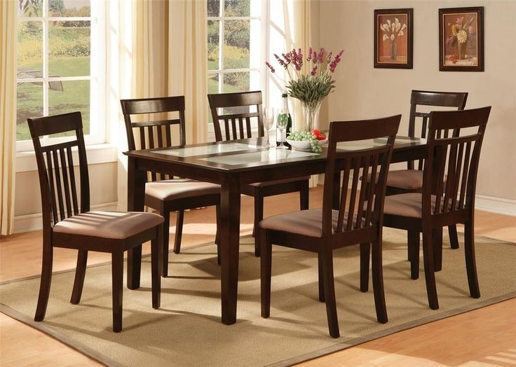 7 PCs CAPRI DINING ROOM DINETTE KITCHEN SET TABLE AND 6 CHAIRS IN CAPPUCCINO. 31 best furniture images on Pinterest   Dining furniture  7 piece