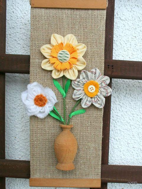 Rękodzieło  z nici i szmatek: Wiosenne kwiatki