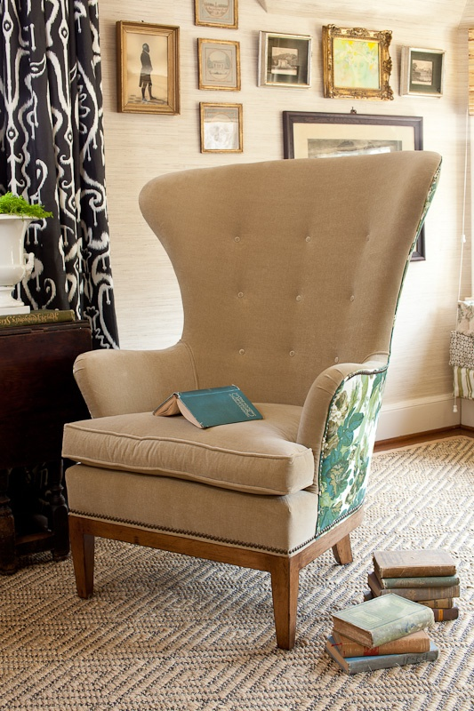 Pure Style Home. I covet a wing back chair...: Prints Patterns, Wings Chairs, Chairs Fabrics, Home Interiors Design, Pure Style, Reading Chairs, House, Wingback Chairs, Chairs Covers