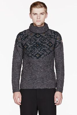 Moncler Grey Patterned Winter Turtleneck Sweater