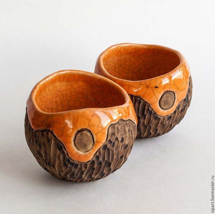 """Купить Комплект пиал """"Морошка"""" - оранжевый, коралловый цвет, посуда из керамики, керамика ручной работы"""