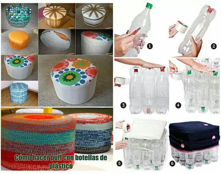 Hacer puff con botellas de plástico  Organizer thing  para
