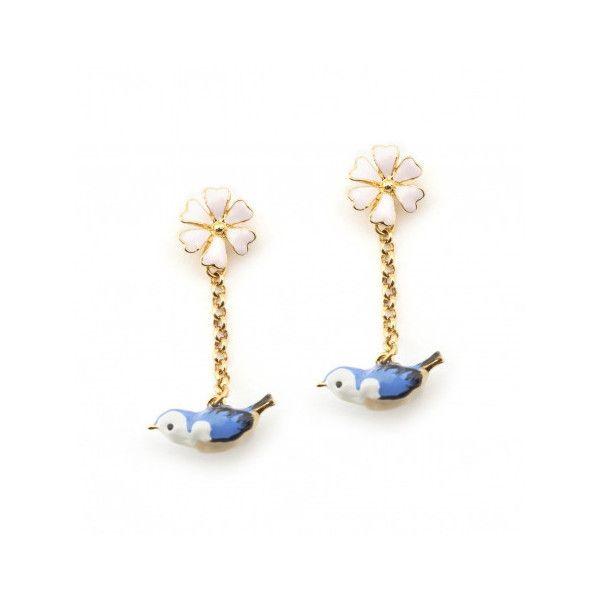 Hedgerow Bluebird Drop Earrings Bill Skinner via Polyvore featuring jewelry, earrings, drop earrings, flower jewelry, flower earrings and flower drop earrings