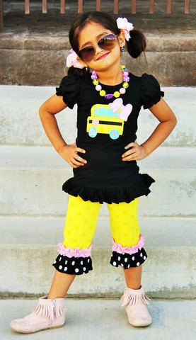 Back to School Outfit - School Bus Outfit - Girls Back to School Outfit, First Day of Preschool Shirt, First Day of Kindergarten, Bus Outfit by craftingballerinamom on Etsy https://www.etsy.com/listing/238046155/back-to-school-outfit-school-bus-outfit