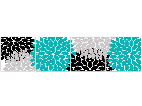 Home Decor Wall Art Instant Download Turquoise And Black Flower Art Print Bathroom Wall Decor Turquoise Bedroom Decor Home99