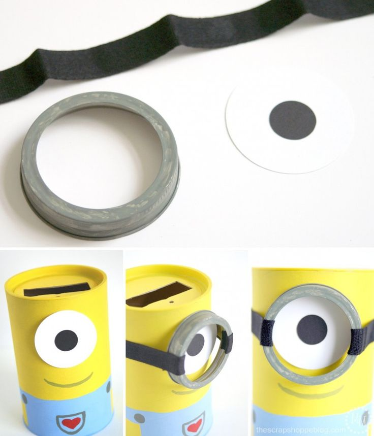 DIY Minion Valentine's Day card holder... soo cute! Super adorable DIY Valentine's Day Card Box holder or candy/treat box idea! Such a cute craft for your kids classroom Valentines party at school! #plaidcrafts #modpodge #applebarrel