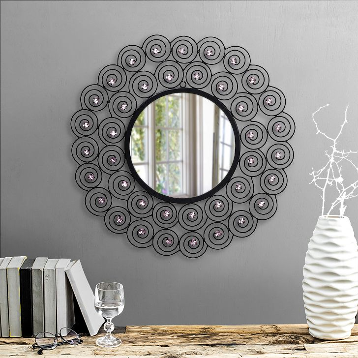 Pavlina Wall Mirror Black #mirrors #mirror #reflectors #show #pinit #pinterest #shazliving Shop at: https://www.shazliving.com/