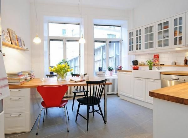 scandinavian kitchen designs with dining table ideas white cabinetand black red chairs