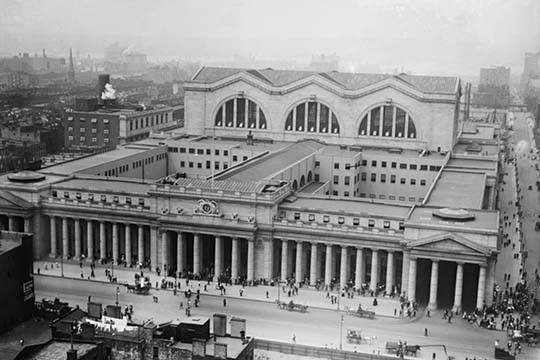 View of the since demolished Pennsylvania Railroad Station as seen from Gimbels