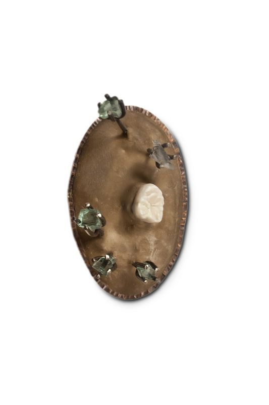 Fossil/Matrix Brooches - Robert Thomas Mullen - copper, resin, human tooth, nickel, glass, fluorite