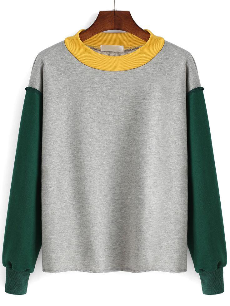 Sweat-shirt+couleur+bloc+col+rond++17.67