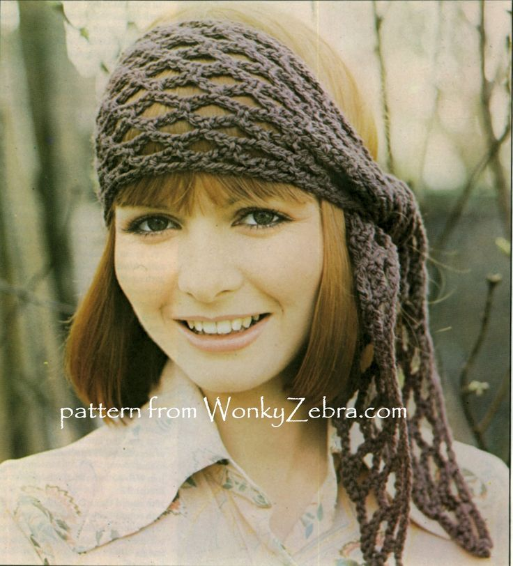 WZ700  A lovely boho gypsy headscarf crochet with a similar snood, in the same pattern.