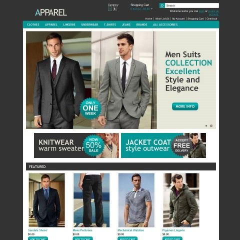 APPAREL OpenCart Template is specially designed for Apparel Man. There are Suits, Casual Shirts, Knitwear Sweaters, Polo Shirts, Coats Outwear, Pants Jeans . Garmonical colors combination of black and azure. Strong game with minimum color in additional to black/white is Most usually in fashion Stores.