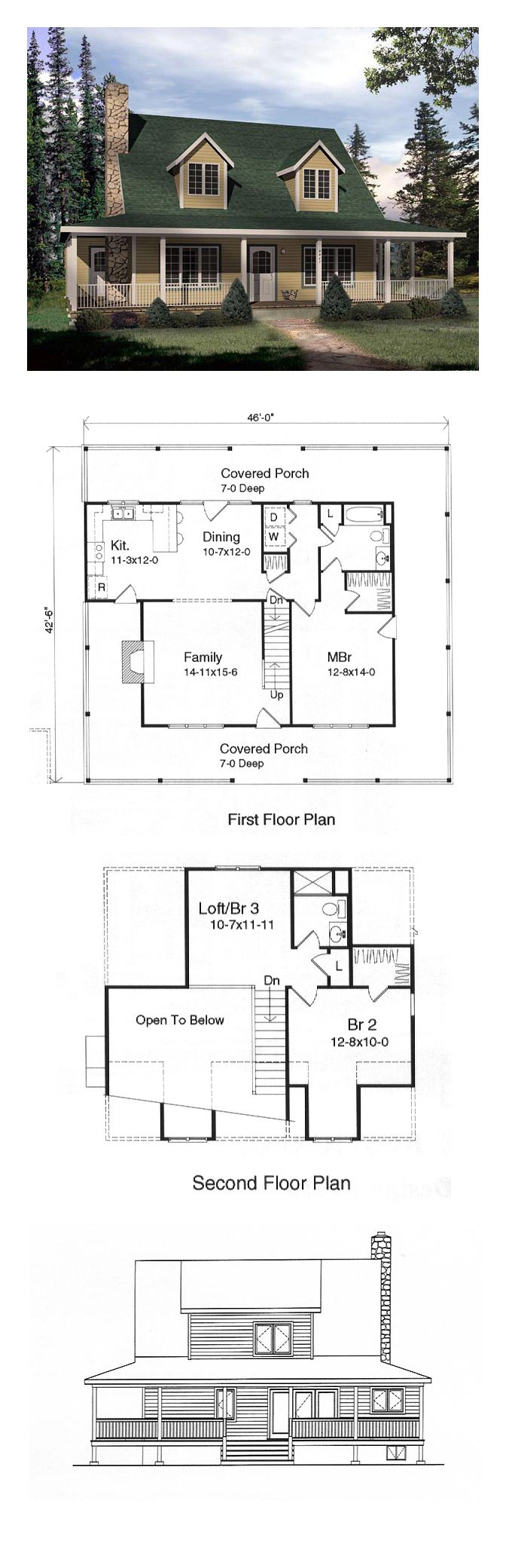 Cape Cod House Plan 49152 Bar Chang 39 E 3 And The Loft