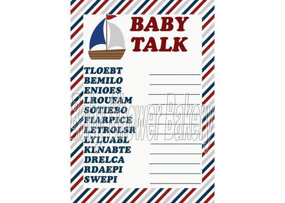 Nautical Baby Shower Game Nautical Theme Baby by BabyShowerBakery