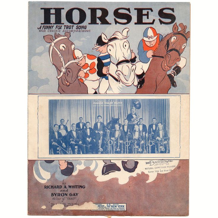 Vintage 1920s Sheet Music Horses A Funny Fox Trot Song Collectible Artwork
