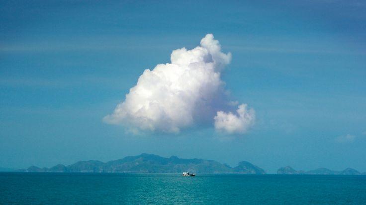 Cloud, island, boat