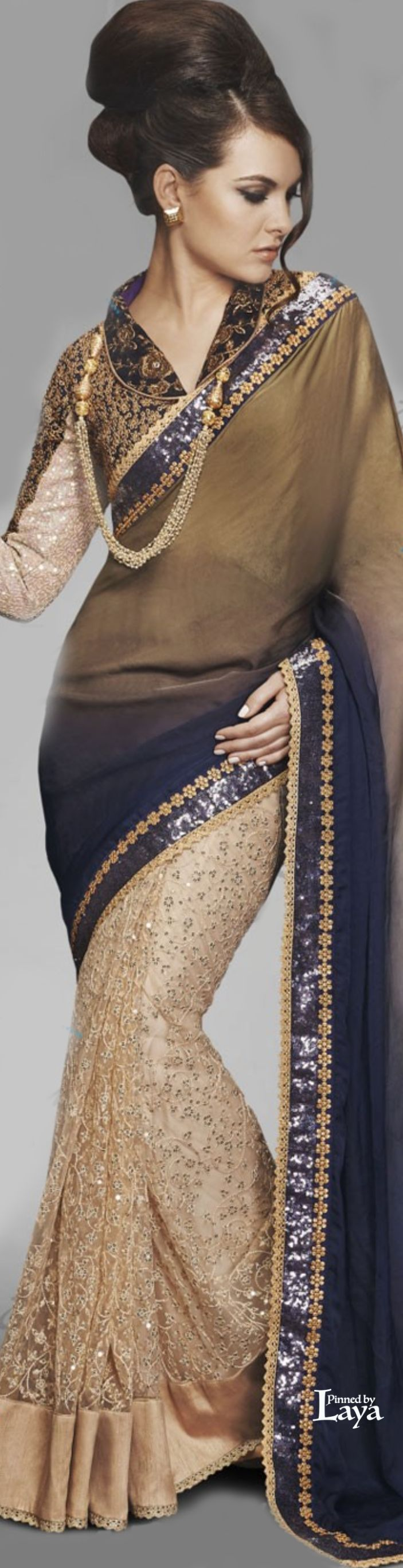 ♔LAYA♔BEIGE & BLUE LATEST INDIAN DESIGNER HALF HALF SAREE♔♔♔