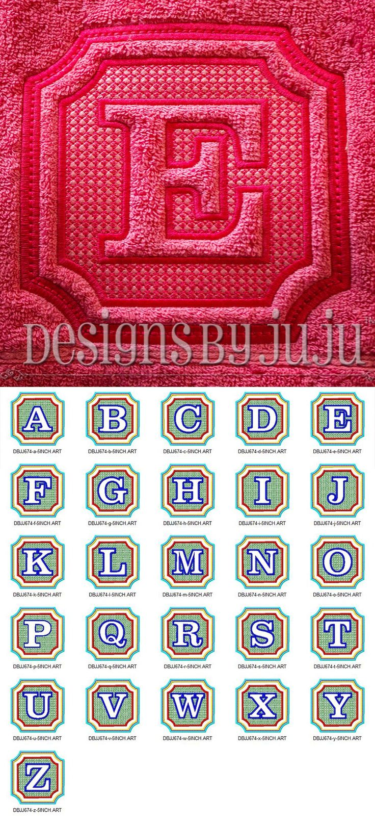 Preppy Embossed Monogram Alphabet Digital Embroidery Design Set