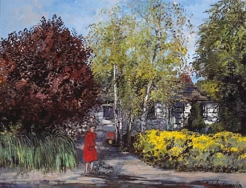 Michele Cascella - A view of a house and garden...