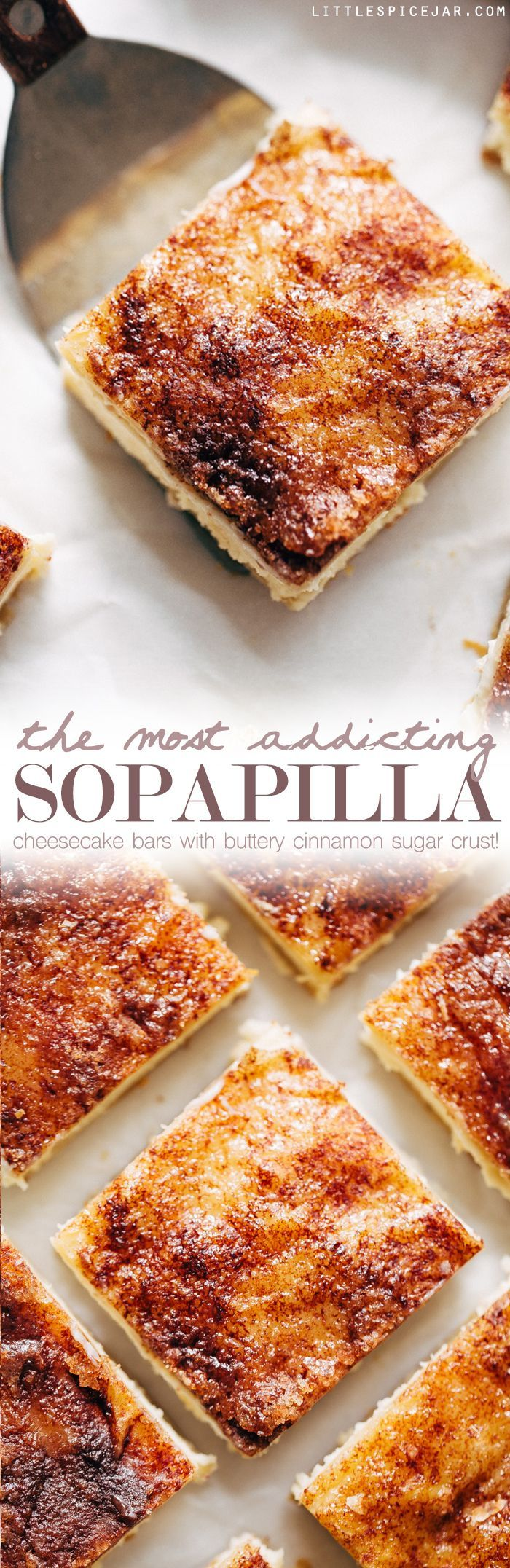 The Most Addicting Sopapilla Cheesecake Bars made with just 8 simple ingredients! These bars don't use the crescent roll dough! #sopapillacheesecakebars #cheesecake #cheesecakebars #snickerdoodle | http://Littlespicejar.com