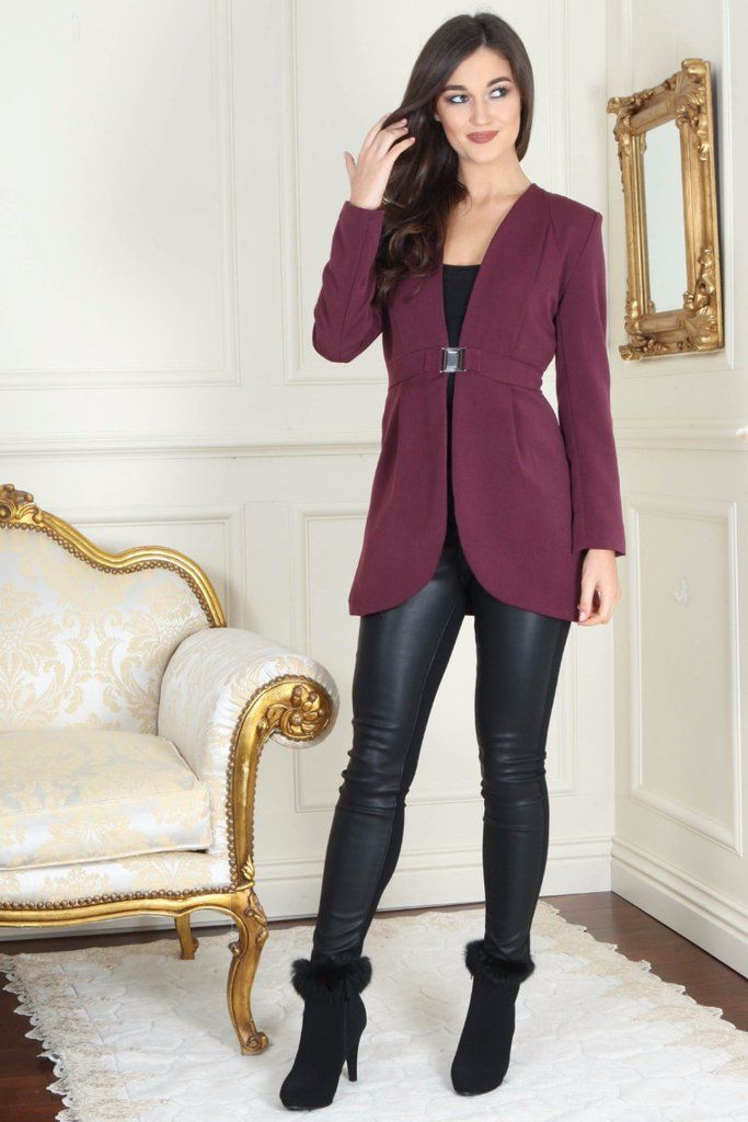 Izzy Diamond Clasp Burgundy Dress Blazer