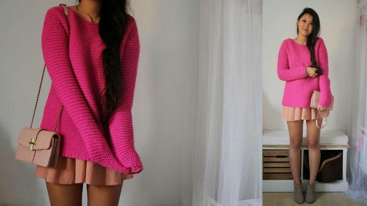 rose Kleid + pinker Pulli