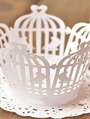 Caissettes pour Cupcakes et Boîtes ( Blanc , Papier nacre ) Thème jardin - pour Mariage/Commémoration/Fête prénuptiale/Bonbon seize/Anniversaire