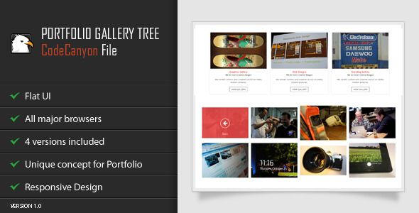 jQuery Portfolio Gallery Tree   Created: 14April14 LastUpdate: 14April14 CompatibleBrowsers: IE8 #IE9 #IE10 #IE11 #Firefox #Safari #Opera #Chrome SoftwareVersion: jQuery FilesIncluded: JavaScriptJS #HTML #CSS Tags: customizable #flat #galleries #gallery #grid #metro #navigation #portfolio #red #responsive #subgallery #tree #web #codecanyon
