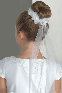 First Communion Stretch Lace Bun Wrap with Ribbons Pearls - Girl First Communion Bun Hairstyle - Elegant White Bun Wraps First Communion Stretch Lace