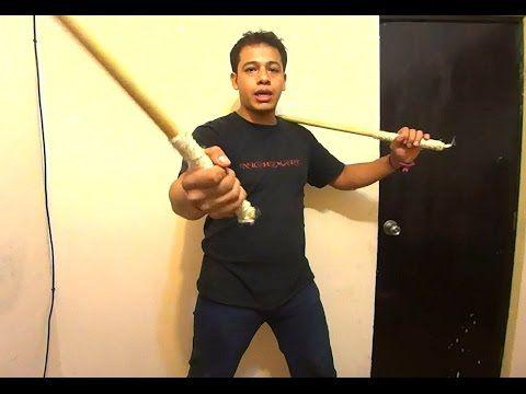 Como hacer unos palos filipinos caseros y  ejercicios para usarlos / armas de artes marciales casera - YouTube