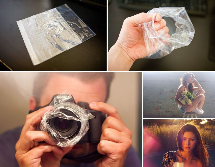 How to Make Hazy Photo Sandwich Bag Trick: I feel like if I tried this then it would just look like I had a scrunched up sandwich bag taped on my camera instead of the pretty effect