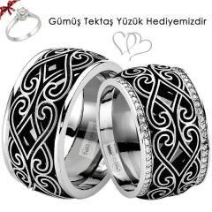 Siyah Beyaz Motifli Desenli Gümüş Alyans Çifti
