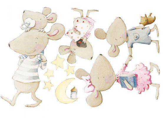 Vinilo para habitaci n infantil familia de ratitas - Dibujo habitacion infantil ...