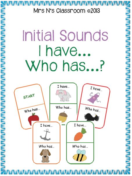 Initial Sounds I Have... Who Has? --- This is a simple activity to reinforce learning of initial sounds. It can be played in small groups or as a whole class. Students can consolidate their learning after this activity by completing the recording sheets. There are 3 to choose from.  Learning Goals: - Letter sound recognition - Identify initial sound in common words  Contents: - 32 I have..Who has Cards - 3 recording sheets - Instructions on how to use the cards  Feel free to leave feedback…