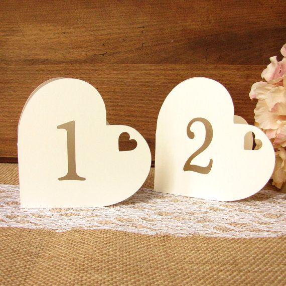 Heart table numbers - A lovely centerpiece for your wedding reception tables!