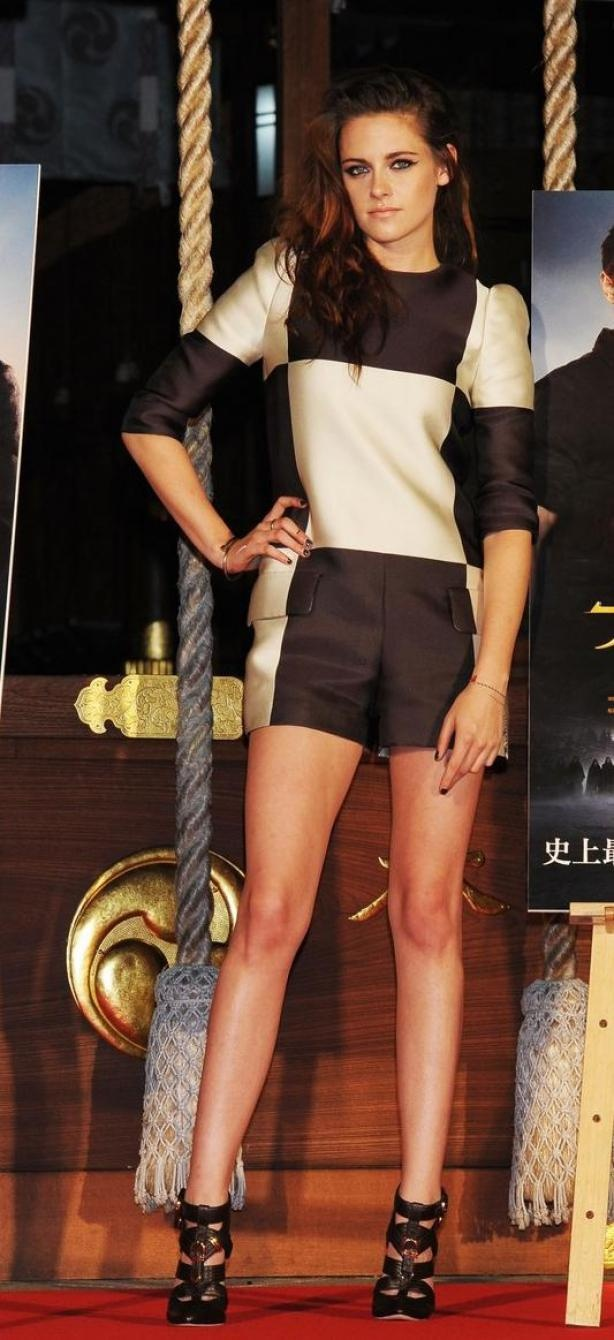Kristen Stewart - she has great legs! Makes me want to work out lol!