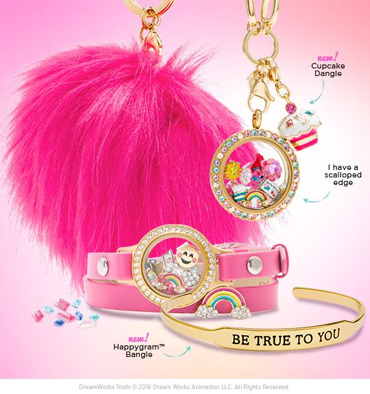 Throw your hair in the air like you just don't care and add new Trolls Character Charms to your Living Locket®, HappyGram™ Bangles to your wrist, and accessorize all over with Pom Poms, Sliders and Personality Dangles.   #origamiowl #O2trolls #cupcake #rainbow #trolls