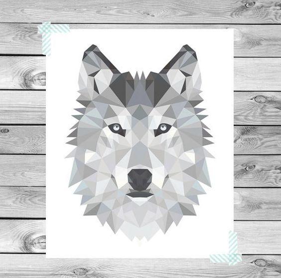Wanddeko digital plakat geometrische wolf illustration ein designerst ck von designclaud bei - Geometrische wandbilder ...