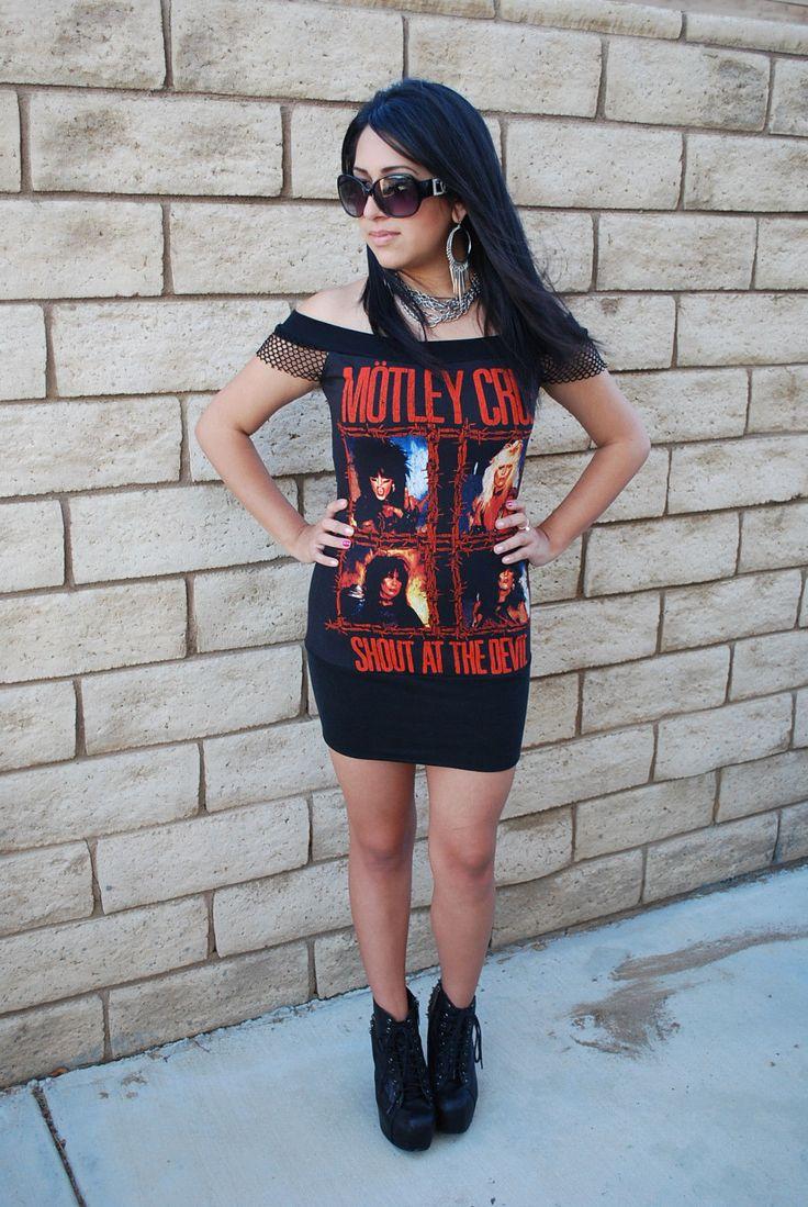Details About Diy Motley Crue Mini Dress Tunic Top Fishnet Glam Rock Metal Nikki Sixx Xs Xl