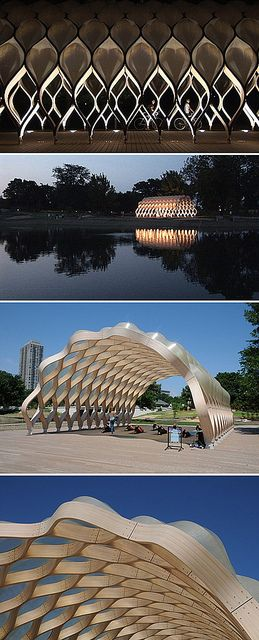 A beautiful, undulating pavilion creates an open-air space for education and entertainment in Chicago. Designed by Studio Gang.