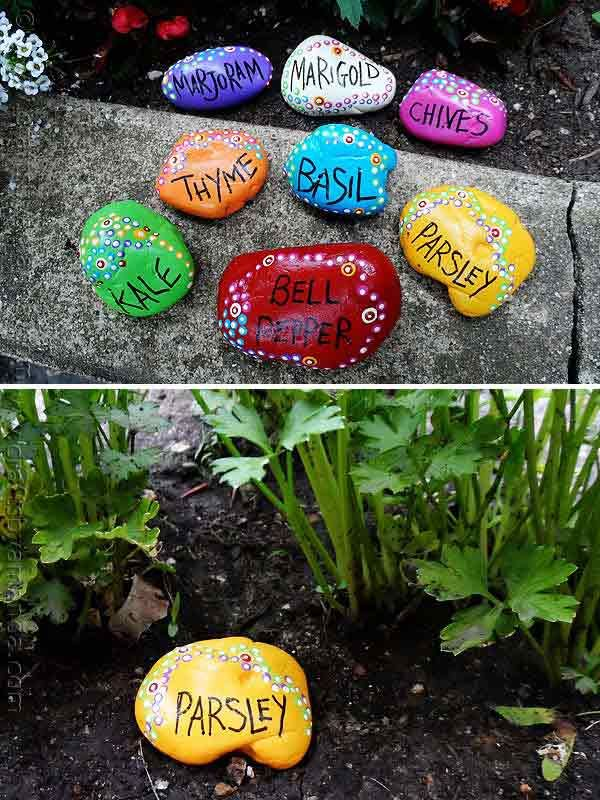 Handmade Super Unique Painted Rock Garden Markers.....Handmade Cheap Garden Decor Ideas To Upgrade Your Garden #DIYGardenDecorIdeas